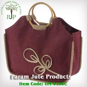 Jute Designer Bag with cane handle