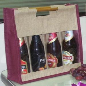 Jute Wine Bags for 4 bottles