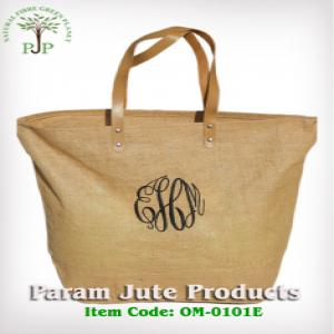 Leather Handle Jute Beach Bags exporter