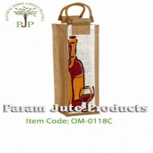 Printed Jute Single Bottle Wine Bags manufacturer