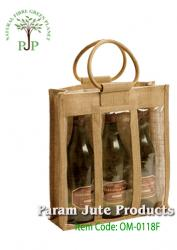 Three Bottle Jute Wine Bags manufacturer