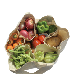 Cotton 6 pockets vegetable grocery bag