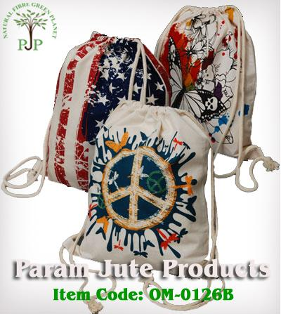 Printed Cotton Drawstring Pouches manufacturer from India